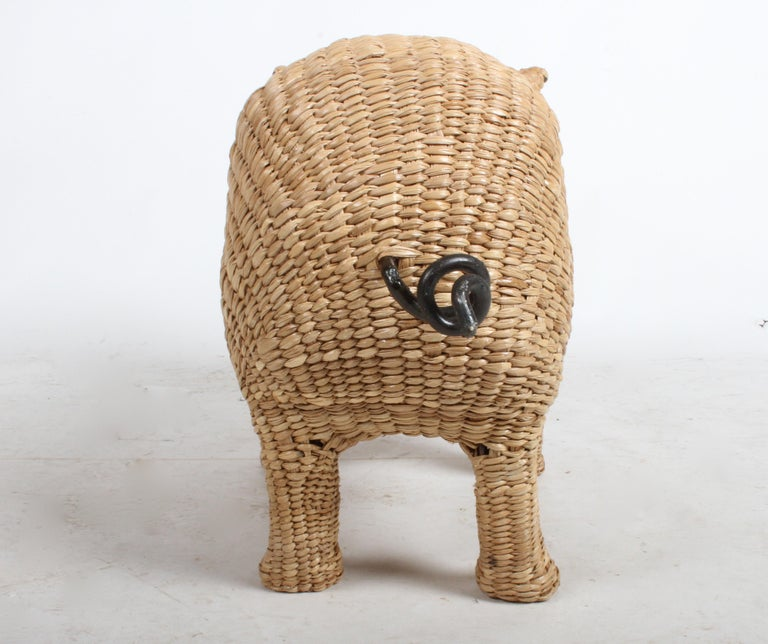 Mario Lopez Torres Large Wicker Pig Sculpture Signed, 1974 For Sale 2