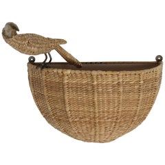 Mario Lopez Torres Midcentury Wicker Toucan Wall Sconce Signed 1974 Mexico