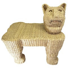 Mario Lopez Torres Wicker Panther Stool, Early 1970s