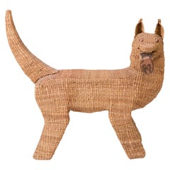 Mario Lopez Torres Woven Reed and Copper Dog Sculpture