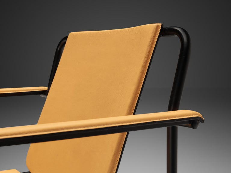 Post-Modern Mario Marenco for Poltrona Frau Yellow 'Movie' Armchairs in Leather and Metal For Sale