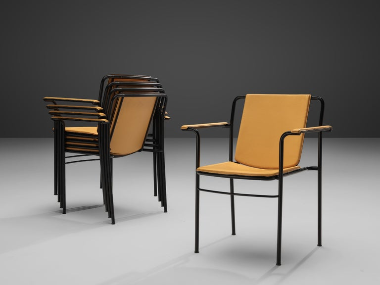 Late 20th Century Mario Marenco for Poltrona Frau Yellow 'Movie' Armchairs in Leather and Metal For Sale