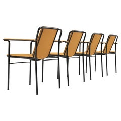 Mario Marenco for Poltrona Frau Yellow 'Movie' Armchairs in Leather and Metal