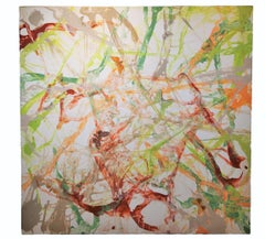 Abstract Expressionist Painting with Painted Butterflies