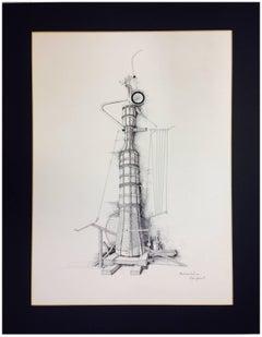 MACCHINA OBELISCO - Ink on paper by Mario Persico, Italy, 1982