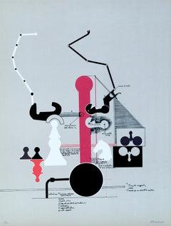 Verticalism - Original Lithograph by Mario Persico - 1970 ca.