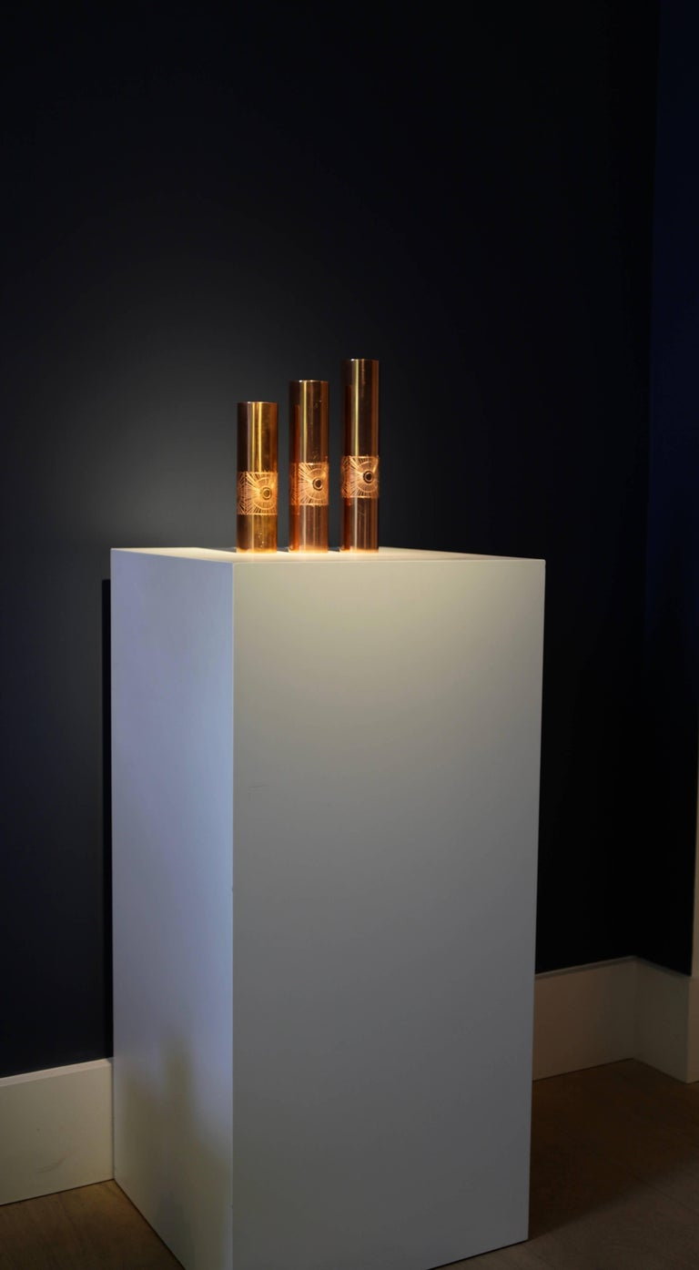 Mid-Century Modern Mario Pinton Set of Unique Copper Vases, Italy, 1950 For Sale
