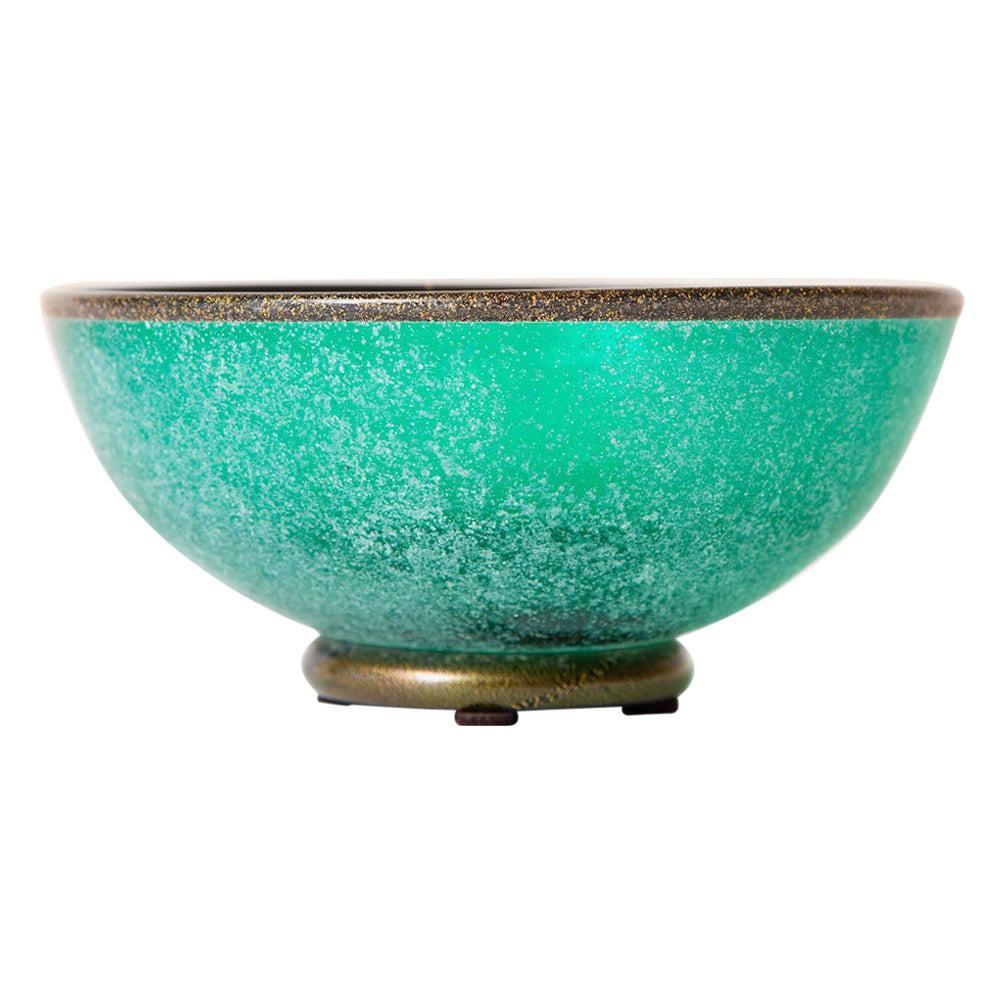 Mario Poggi Scavo Teal Sea Green and Gold Aventurine Murano Bowl