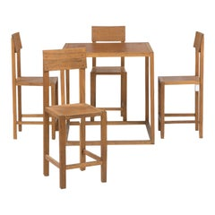 Mario Prandina Dining Table and Four Oak Chairs, Model Cubo and Seggiola, 1960