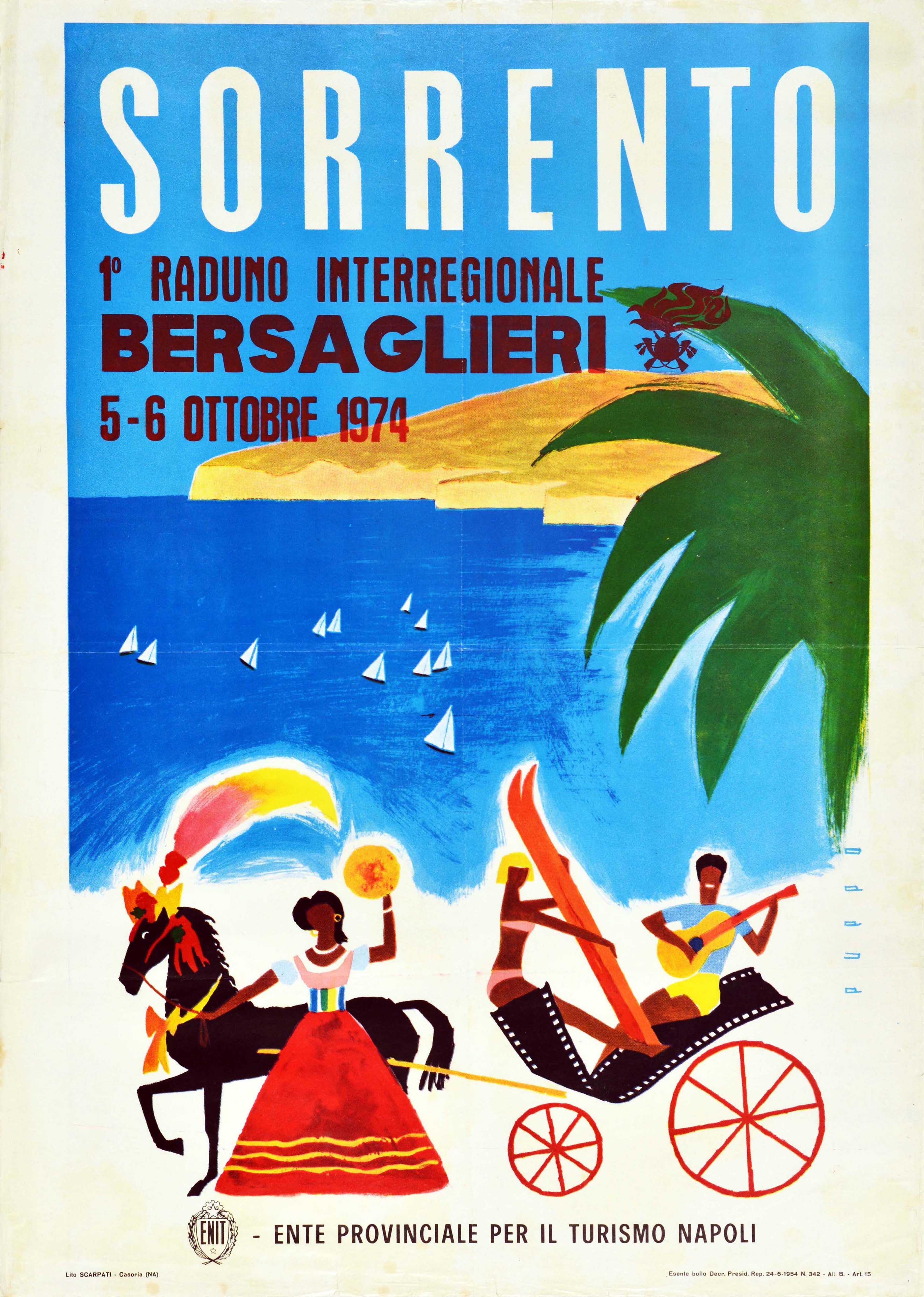 Original Vintage Poster Sorrento Italy ENIT Travel Naples Bersaglieri Reunion