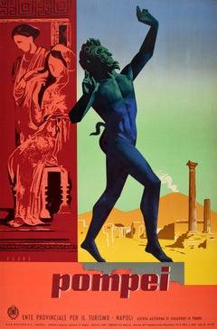 Original Vintage Travel Poster Pompeii Dancing Faun Vesuvius Ancient Roman City