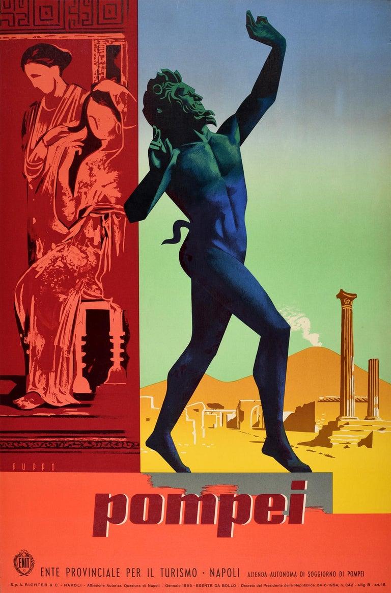 Mario Puppo Print - Original Vintage Travel Poster Pompeii Dancing Faun Vesuvius Ancient Roman City
