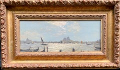 Impressionist view of Venice from the sea or Canal, with boats and gondolas