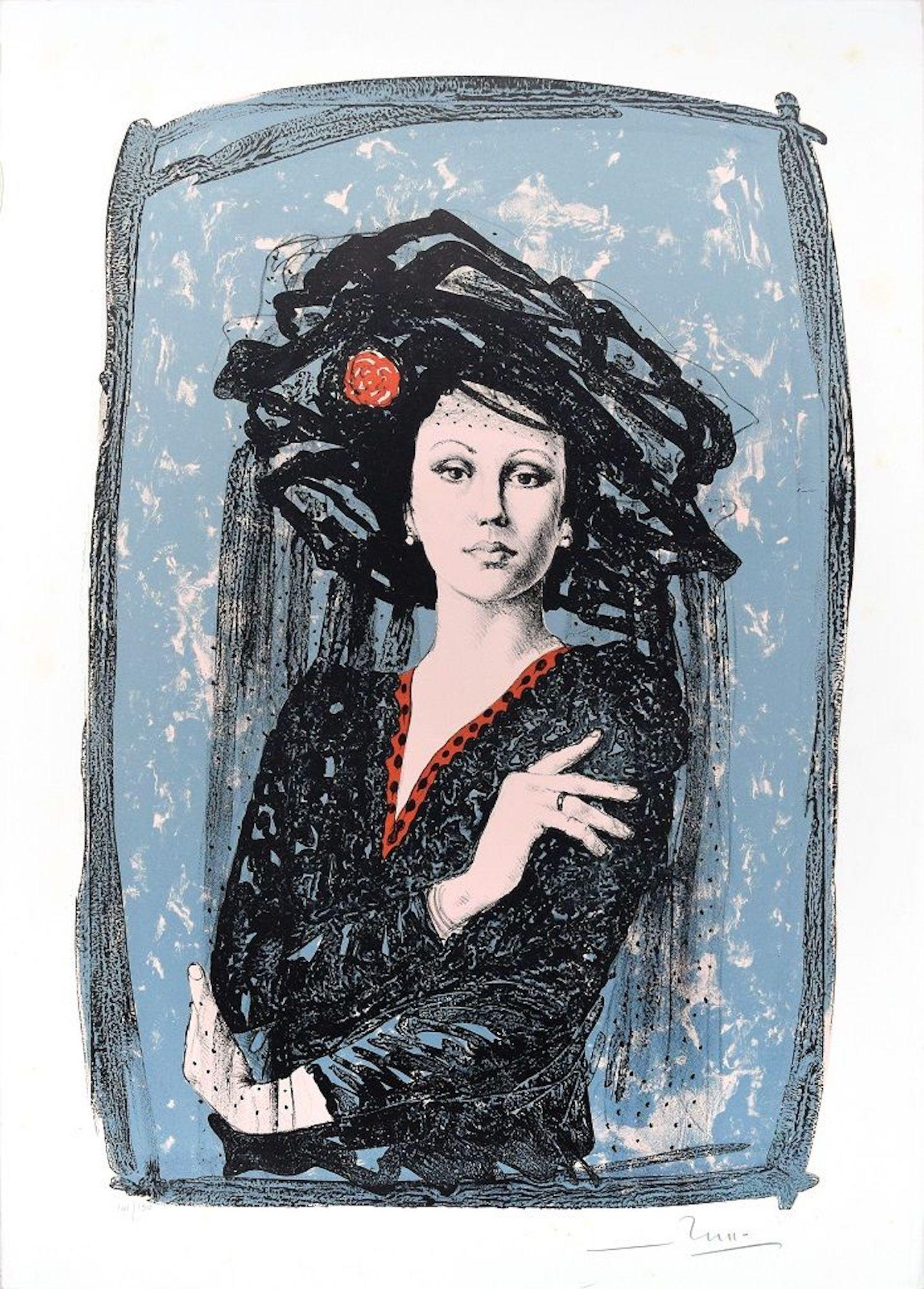 The Actress - Original Lithograph by Mario Russo - 1988