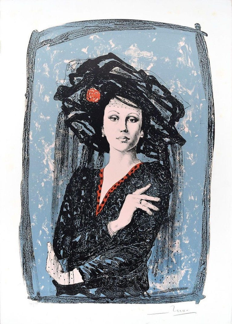 Image dimensions: 61x40 cm.  L'attrice (The actress) is an original colored lithograph on paper realized in 1988 by the Italian artist Mario Russo (1925-2000)  A beautiful original print representing a sophisticated woman in a natural but at the