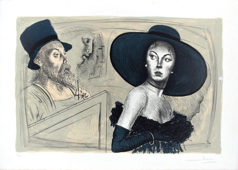 Image dimensions: 40x60 cm.  The painter and the model is an original colored lithograph on paper realized by the Italian artist Mario Russo (1925-2000)  A beautiful original print representing the painter portraying an elegant woman with a big hat