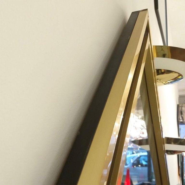 Mario Sabot Minimalist Italian Modern Brass and Black Square Mirror, 1970s For Sale 3