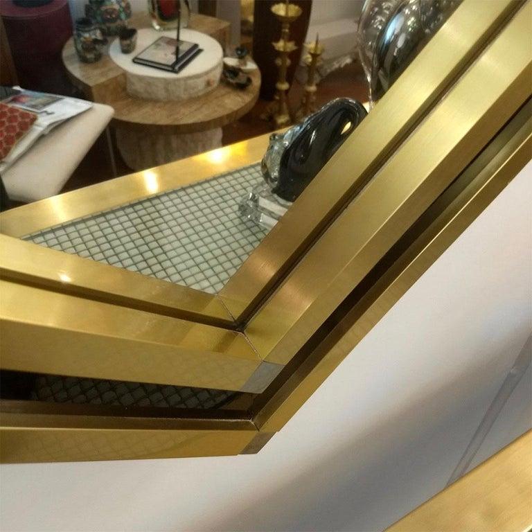 Late 20th Century Mario Sabot Minimalist Italian Modern Brass and Black Square Mirror, 1970s For Sale