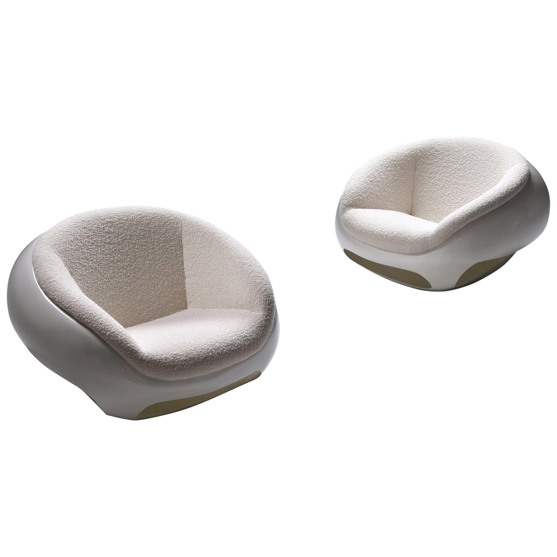Mario Sabot Sculptural Fiberglass Lounge Chairs in Bouclé