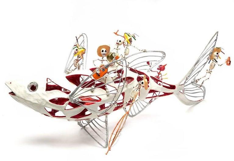 Mario Saulo Moreno Contreras Figurative Sculpture - 28'' Algo de Michoacan / Carton, Paper and Tin Sculpture Mexican Folk Art