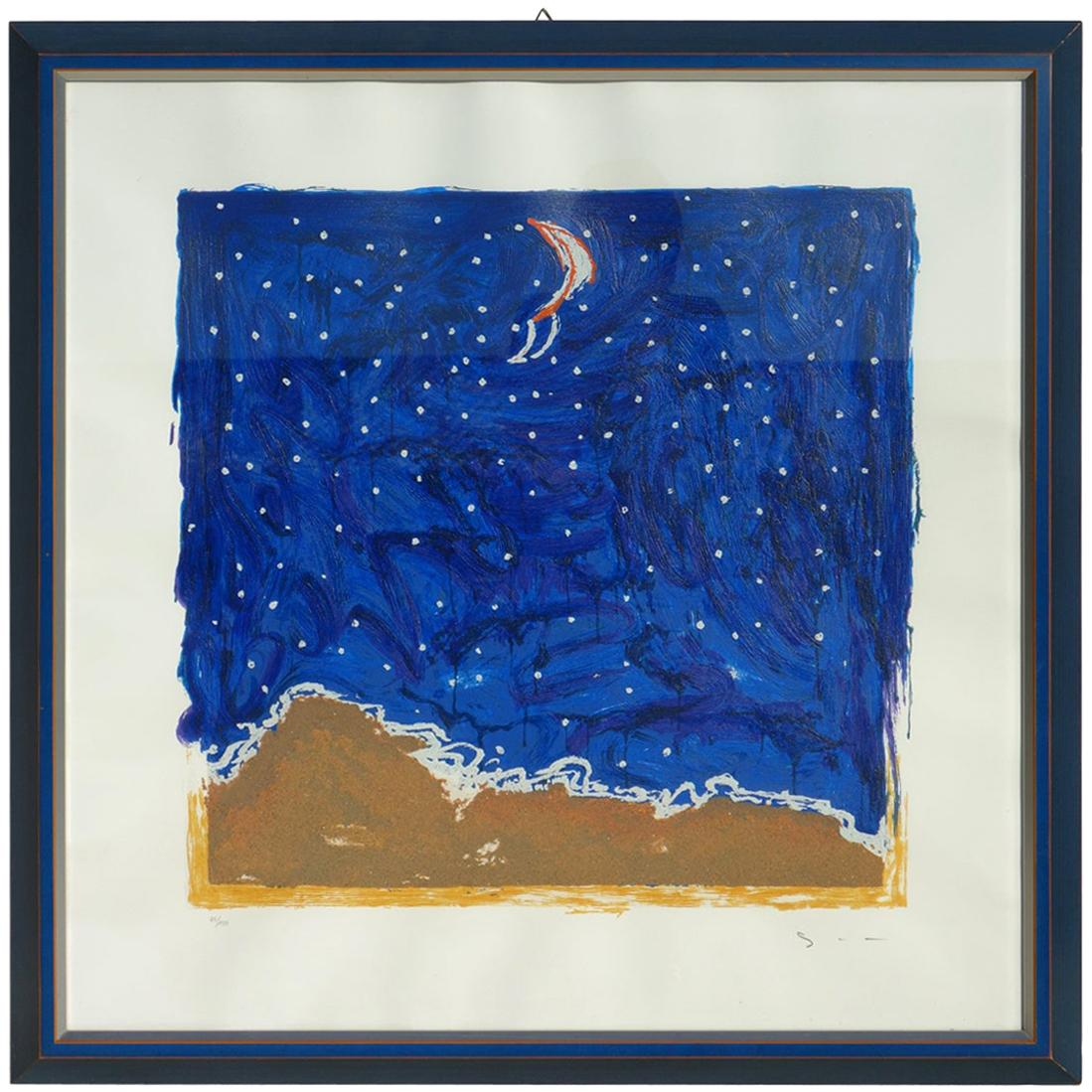 "Mario Schifano ""Desert"" Materic Serigraph with Frame"