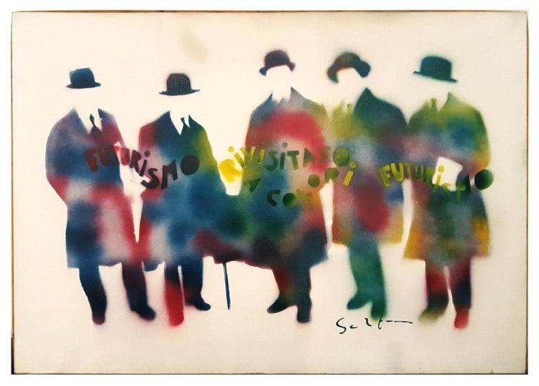 Mario Schifano Futurismo Rivisitato A Colori Painting For Sale At