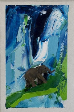Untitled - Elephant - Original Mixed Media on Canvas by Mario Schifano - 1995