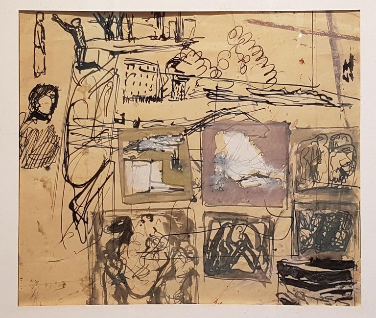 Composition - Original Mixed Media by Mario Sironi - 1937 For Sale 2