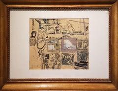 Composition - Original Mixed Media by Mario Sironi - 1937