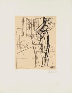 Interior with Figure - Original Lithograph by Mario Sironi - Mid-20th Century