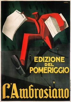 """""""L'Ambrosiano Edizione del Pomeriggio"""" Original Vintage Futurist Poster"""