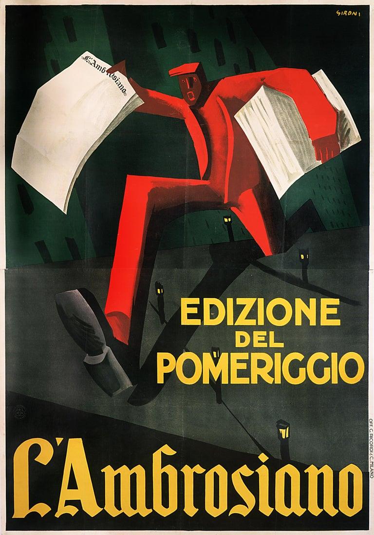 """""""L'Ambrosiano Edizione del Pomeriggio"""" Original Vintage Futurist Poster - Print by Mario Sironi"""