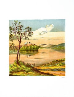 House on the Lake - Original Lithograph by Mario Sportelli - 1970s