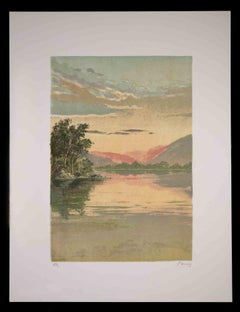 Sunrise on the Lake - Original Lithograph by Mario Sportelli - 1970s