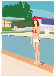 Italian Contemporary Art by Mario Sughi - Lucy at the Swimming Pool