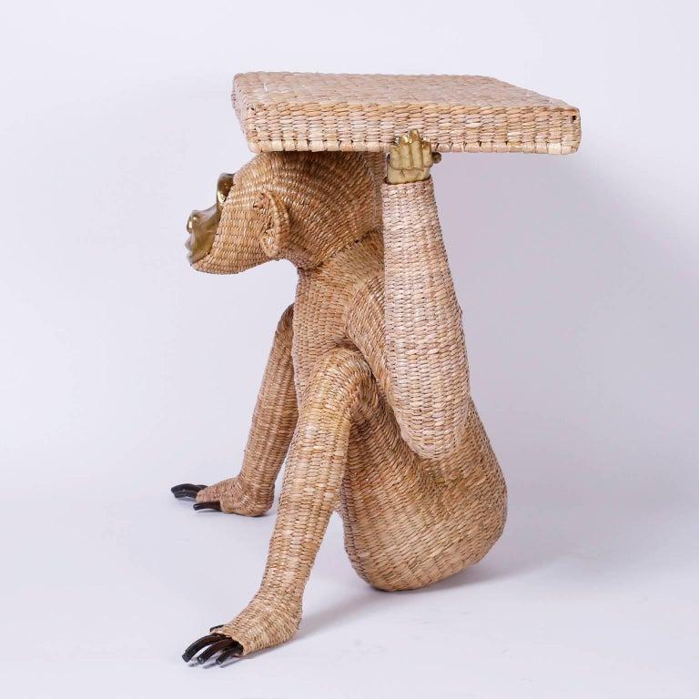 Folk Art Mario Torres Brass Face Monkey Console