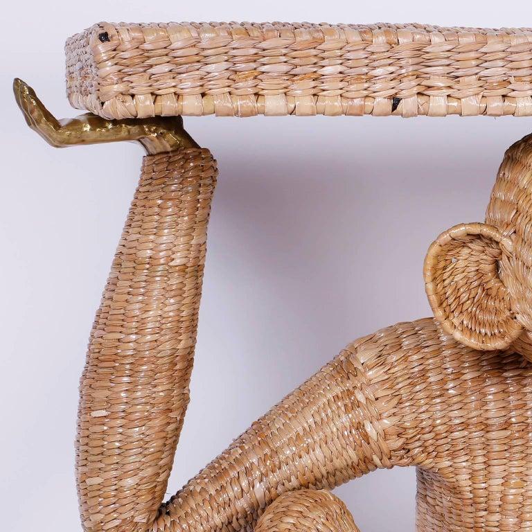 Hand-Woven Mario Torres Brass Face Monkey Console