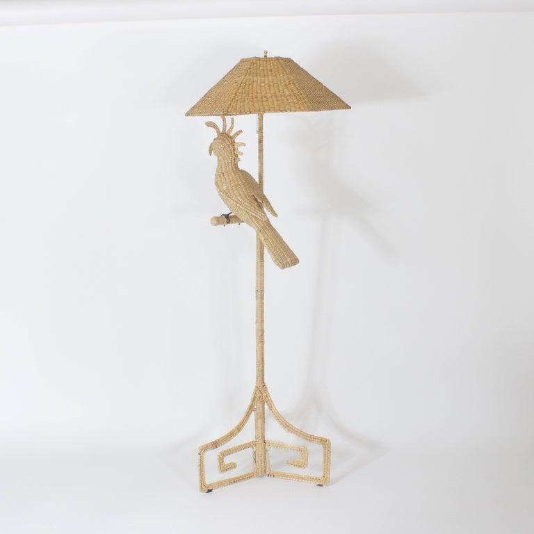 British Colonial Mario Torres Cockatoo Floor Lamp For Sale