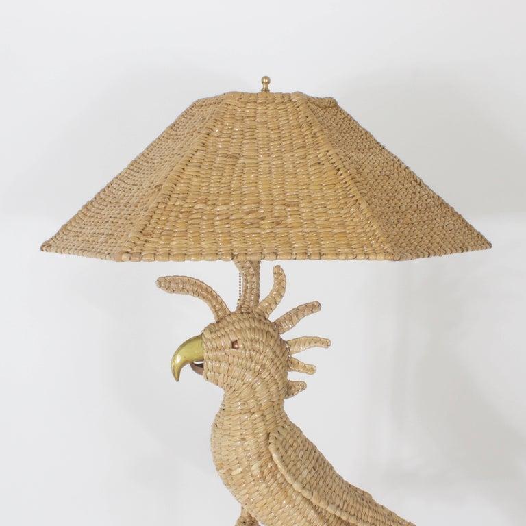 Hand-Woven Mario Torres Cockatoo Floor Lamp For Sale