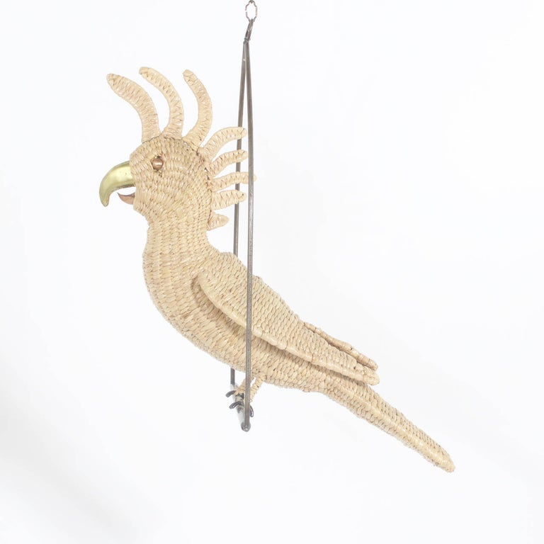 British Colonial Mario Torres Cockatoo on Metal Swing For Sale