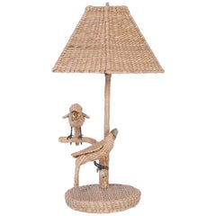 Mario Torres Wicker Parrot and Toucan Bird Table Lamp