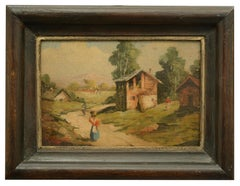 COUNTRY SCENE - Italian oil on board painting, Mario Vassetti