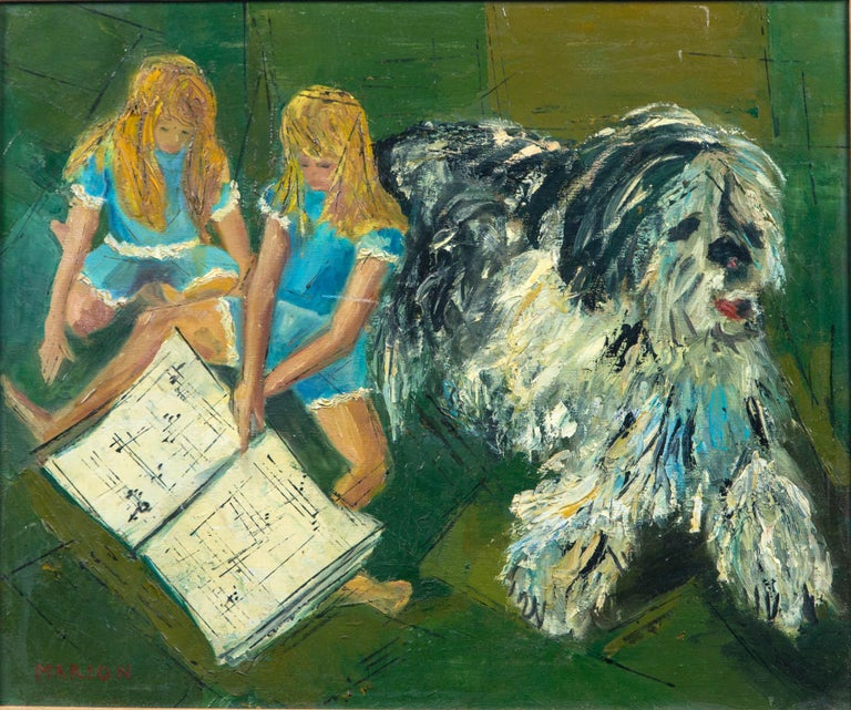 Marion Green oil painting of two blonde girls with a large shaggy dog. Without frame: 23.5 wide x 19.5 high. A few marks on the frame.