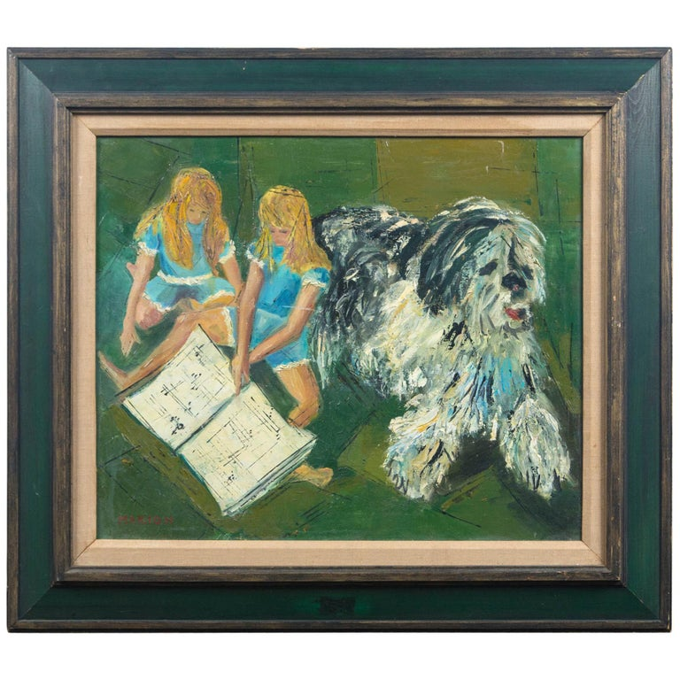 Marion Green, Oil on Canvas of Twin Girls and a Big Shaggy Dog For Sale