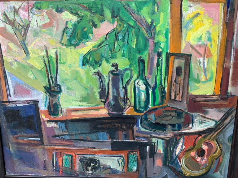 American Impressionist Interior of the artists studio - Painting by Marion Huse