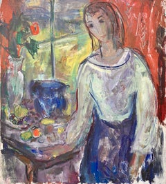American Impressionist portrait of a lady in an interior