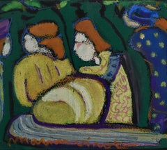 Go Tell Him She Loves Him and He Loves Them (Oil Pastel of Four Figures)