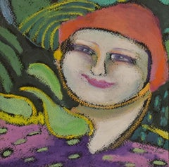 Happy To Be (Oil Pastel Portrait of a Female Figure)