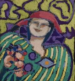 Seeds of Joy (Oil Pastel Portrait of a Woman)
