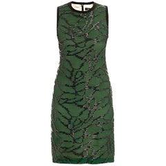 Marios Schwab Silk Green & Black Bead Embellished Dress - Size US 4
